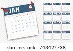 2018 calendar in paper stickers ...   Shutterstock .eps vector #743422738