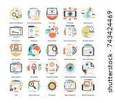 digital marketing icons set  | Shutterstock .eps vector #743424469