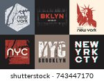 set of six new york t shirt and ... | Shutterstock .eps vector #743447170