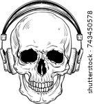 skull with headphones | Shutterstock .eps vector #743450578