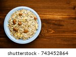 muesli with nuts. muesli on a... | Shutterstock . vector #743452864