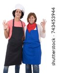 Small photo of Mother and son are meant to cook delicious food. Isolated on white background.