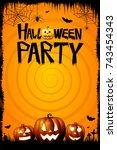 halloween illustration  ... | Shutterstock . vector #743454343