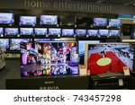 Small photo of Limassol, Cyprus - October 27, 2017: TV sets blaring in an electronics store in Limassol, Cyprus.