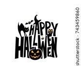 happy halloween typography... | Shutterstock .eps vector #743459860