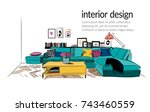 vector interior design... | Shutterstock .eps vector #743460559