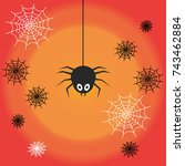 cute spider and web over orange ... | Shutterstock .eps vector #743462884