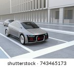 self driving car's front grille ... | Shutterstock . vector #743465173