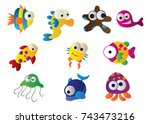 sea animals  sea creatures... | Shutterstock .eps vector #743473216
