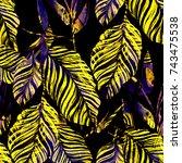 watercolor seamless pattern... | Shutterstock . vector #743475538