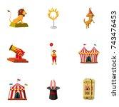 circus equipment icons set.... | Shutterstock . vector #743476453