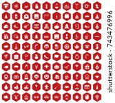 100 holidays icons set in red... | Shutterstock . vector #743476996