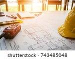 vintage business desk of... | Shutterstock . vector #743485048