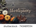 happy thanksgiving greeting... | Shutterstock . vector #743489554
