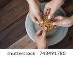 sharing concept   family... | Shutterstock . vector #743491780