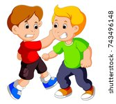 two young boys fighting | Shutterstock . vector #743496148