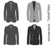men's jacket  double breasted... | Shutterstock .eps vector #743497864