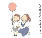vector illustration of mom and... | Shutterstock .eps vector #743498566