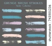 watercolor  ink or paint brush... | Shutterstock .eps vector #743501236