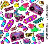 seamless pattern with colorful... | Shutterstock .eps vector #743501800