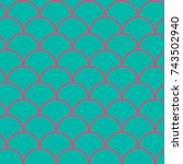 mermaid tail seamless pattern.... | Shutterstock .eps vector #743502940