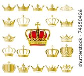 Crown and tiara icons set. Illustration vector. - stock vector