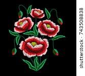 field flowers embroidery ... | Shutterstock .eps vector #743508838
