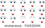 facial expressions of a blue... | Shutterstock .eps vector #743520334