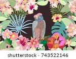 owl in the night garden.... | Shutterstock .eps vector #743522146