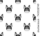 seamless pattern with french... | Shutterstock .eps vector #743528749