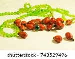 green bead necklace in a red... | Shutterstock . vector #743529496