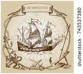 adventure stories. pirate... | Shutterstock .eps vector #743537380