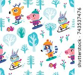 winter and christmas seamless... | Shutterstock .eps vector #743537476