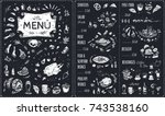 menu   food icons white chalk... | Shutterstock .eps vector #743538160