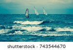 sailing sport baltic sea | Shutterstock . vector #743544670