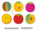 Colorful fruit appliques for kids - stock photo