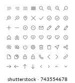 user interface line icons for... | Shutterstock .eps vector #743554678