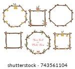 vector frames set. craft... | Shutterstock .eps vector #743561104
