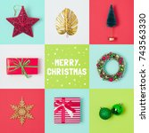 christmas holiday banner design ... | Shutterstock . vector #743563330