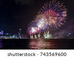 fireworks display at victoria...   Shutterstock . vector #743569600
