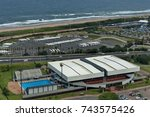 seaside above view to durban... | Shutterstock . vector #743575426