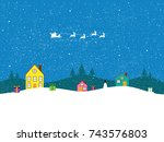 merry christmas and happy new... | Shutterstock . vector #743576803