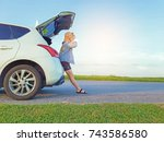 car parking on the road  woman... | Shutterstock . vector #743586580