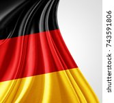 germany  flag of silk with... | Shutterstock . vector #743591806