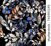 watercolor seamless pattern... | Shutterstock . vector #743592193