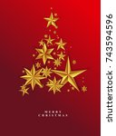 christmas red starry background.... | Shutterstock .eps vector #743594596