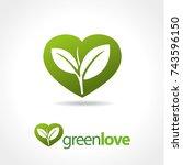 sprout inside heart symbol logo | Shutterstock .eps vector #743596150