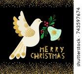 dove of peace.  christmas... | Shutterstock .eps vector #743597674