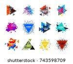 sacred geometry triangle... | Shutterstock .eps vector #743598709