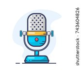 vintage microphone line icon.... | Shutterstock .eps vector #743604826